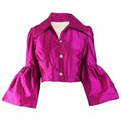 Vintage 1970s Pink Silk Bell Sleeve Jacket