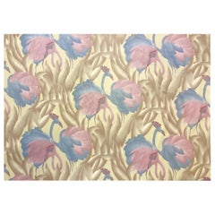 Vintage 1970's Polished Cotton Fabric w/ Tropical Flamingo design, 9 yards total