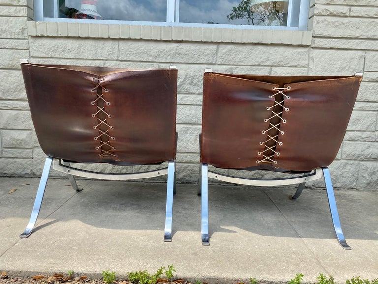 Vintage 1970s Preben Fabricius Pair Leather and Stainless Steel Lounge Chairs For Sale 4