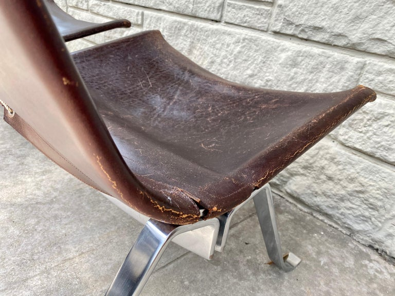 Vintage 1970s Preben Fabricius Pair Leather and Stainless Steel Lounge Chairs For Sale 5