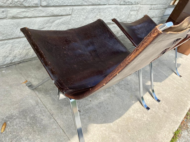 Vintage 1970s Preben Fabricius Pair Leather and Stainless Steel Lounge Chairs For Sale 8