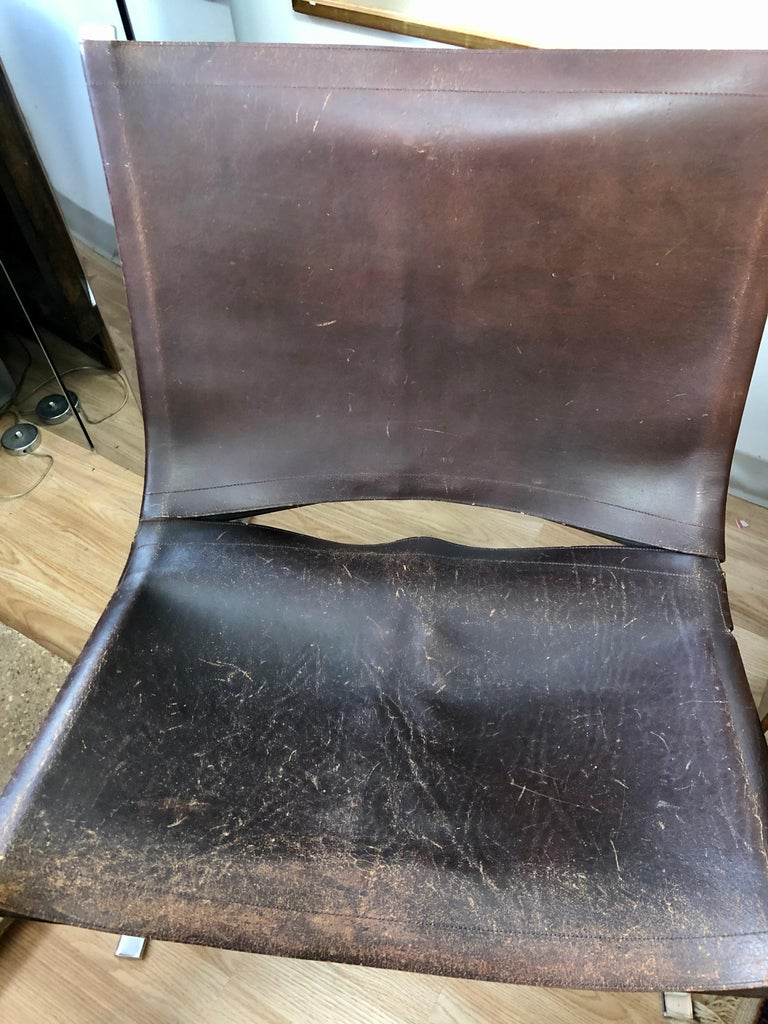 Vintage 1970s Preben Fabricius Pair Leather and Stainless Steel Lounge Chairs For Sale 12