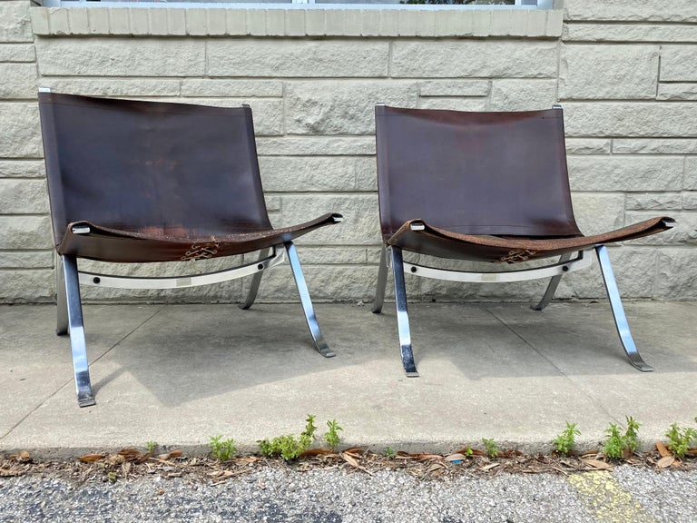 Mid-Century Modern Vintage 1970s Preben Fabricius Pair Leather and Stainless Steel Lounge Chairs For Sale