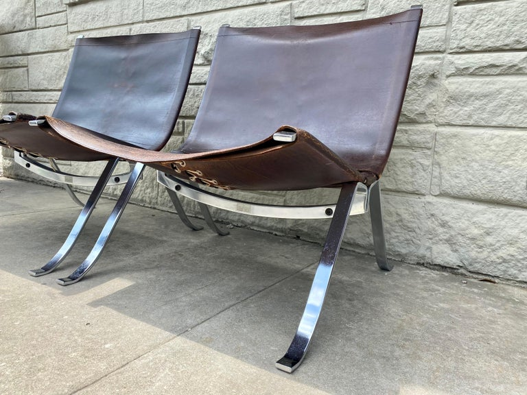 Danish Vintage 1970s Preben Fabricius Pair Leather and Stainless Steel Lounge Chairs For Sale