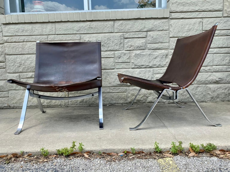 Vintage 1970s Preben Fabricius Pair Leather and Stainless Steel Lounge Chairs For Sale 1