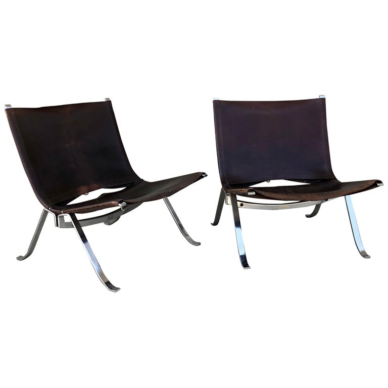 Vintage 1970s Preben Fabricius Pair Leather and Stainless Steel Lounge Chairs For Sale