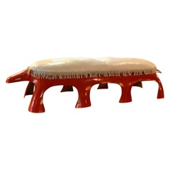 Vintage 1970s Red Orange Fiberglass Aardvark Bench/Table w/ White Vinyl Cushion