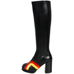 Vintage 1970's Red Yellow Stripe Black Vinyl Glam Rock Platform Knee-High Boots