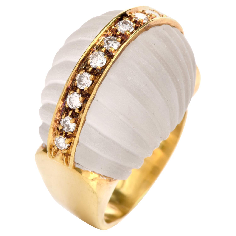 Vintage 1970s Rock Crystal Diamond 18 Karat Gold Bombe Cocktail Ring