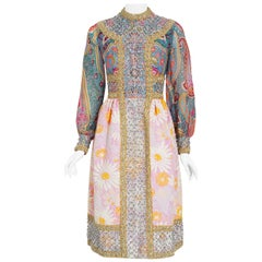 Vintage 1970's Ronald Amey Metallic Psychedelic Print Silk & Floral Cotton Dress