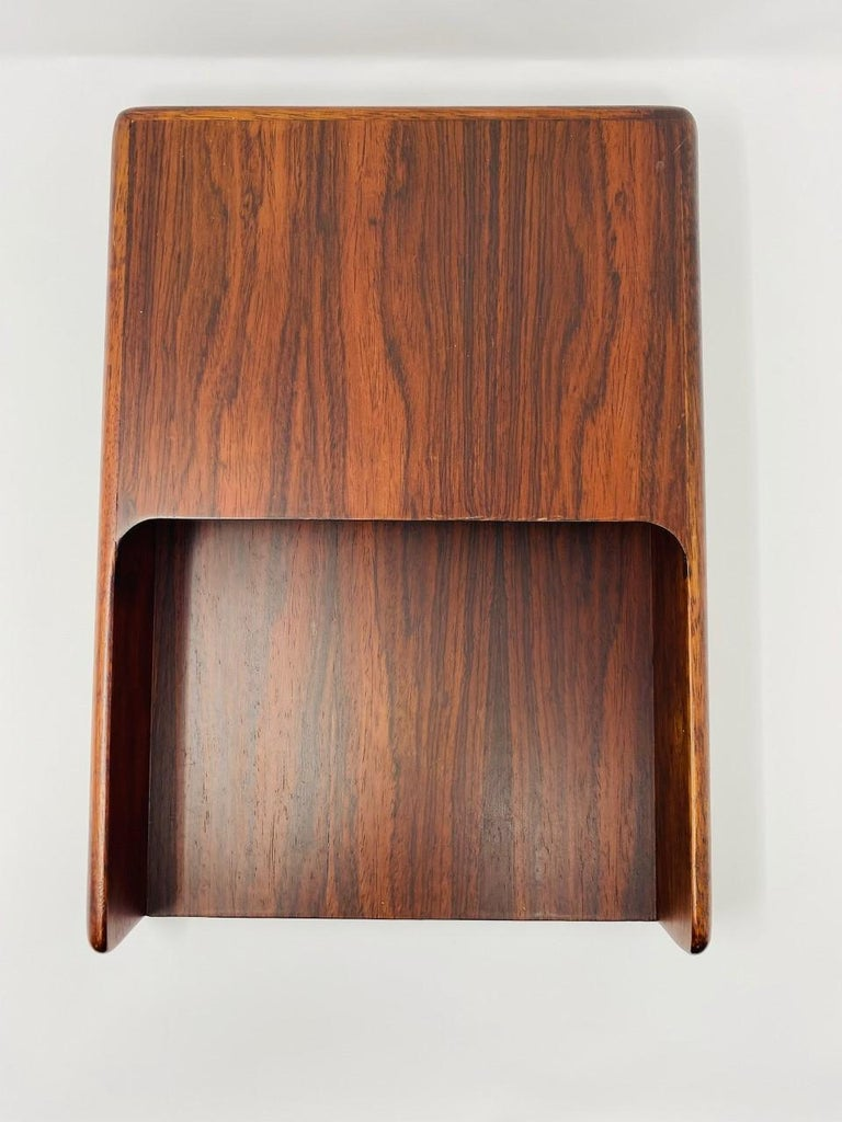 Hand-Crafted Vintage Danish Modern 1970s Rosewood Paper and Letter Tray For Sale