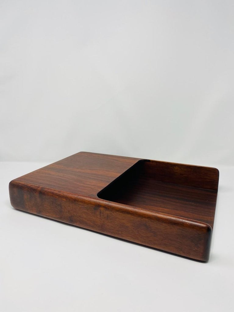 Vintage Danish Modern 1970s Rosewood Paper and Letter Tray For Sale 1