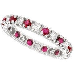 Vintage 1970s Ruby Diamond and White Gold Eternity Ring