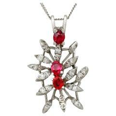 Vintage 1970s Ruby Diamond White Gold Pendant