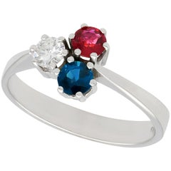 Vintage 1970s Ruby Sapphire and Diamond White Gold Trilogy Ring