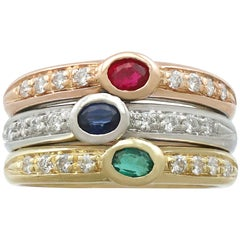 Vintage 1970s Ruby, Sapphire, Emerald, and Diamond Cocktail Ring