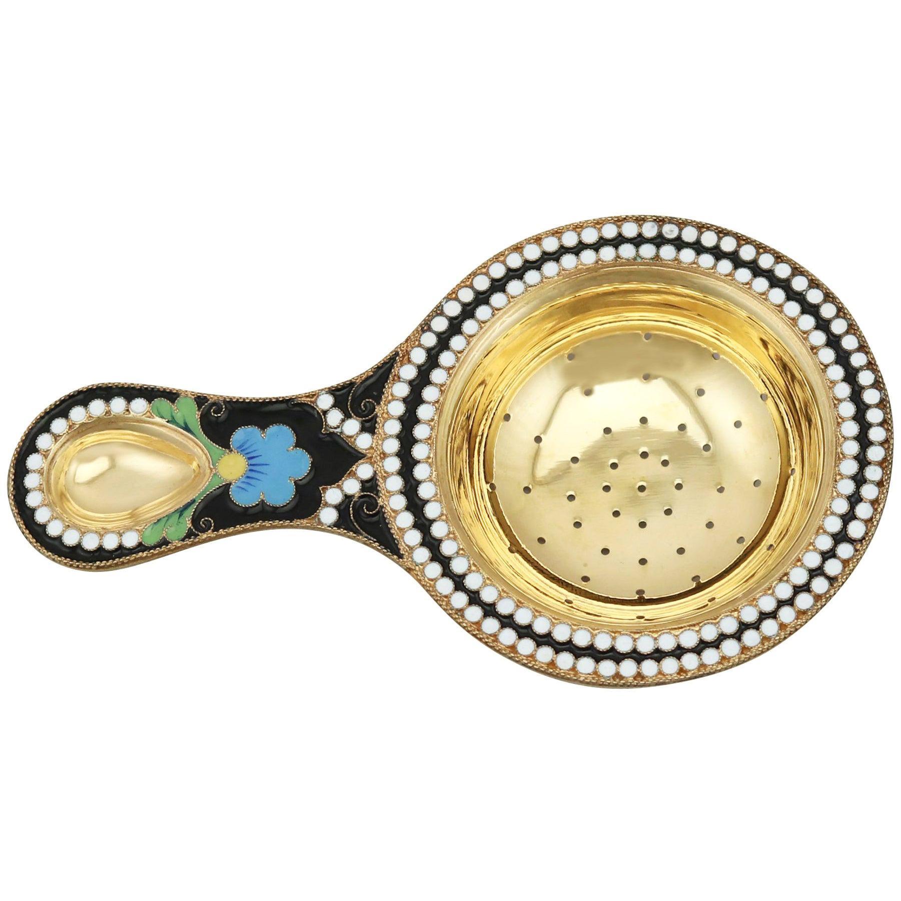 Vintage, 1970s Russian Silver Gilt and Polychrome Cloisonné Enamel Tea Strainer