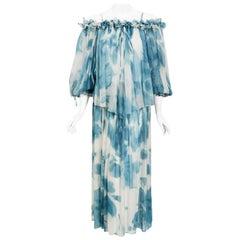 Vintage 1970's Sant' Angelo Blue Cloud Print Chiffon Dress & Off-Shoulder Blouse