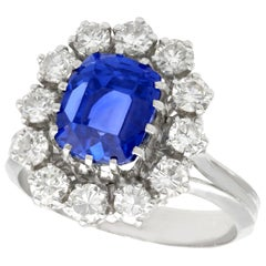 Vintage 1970s Sapphire Diamond White Gold Cluster Ring
