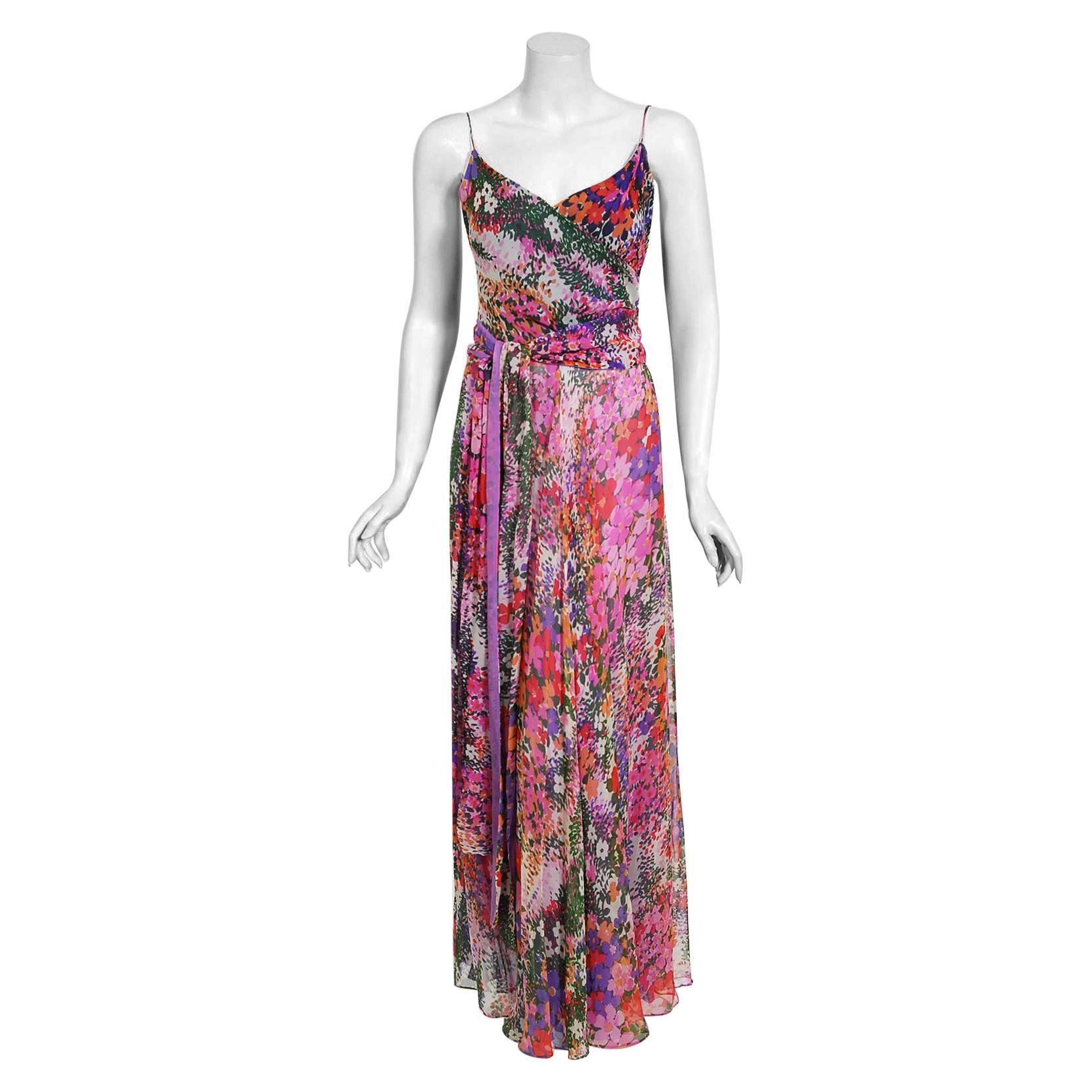 Vintage 1970's Scott Barrie Purple Floral Chiffon Low-Plunge Maxi Wrap Dress