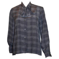 Vintage 1970s Silk Blouse in Blues and Grey