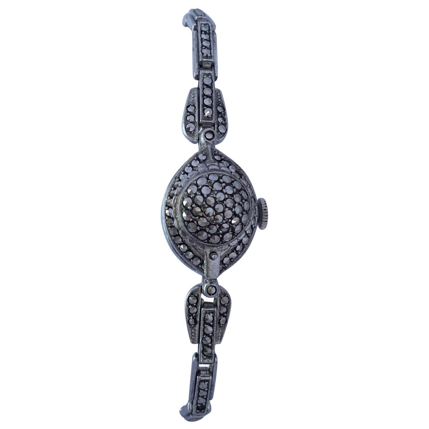 Vintage 1970s Silver Marcaseed Mechanical Ladies Bracelet Watch