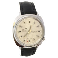 Vintage 1970s Silver Plated and Stainless Steel Back Swiss Mechanical Watch