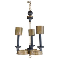 Vintage 1970s Small Brass and Turned Wood Chandelier