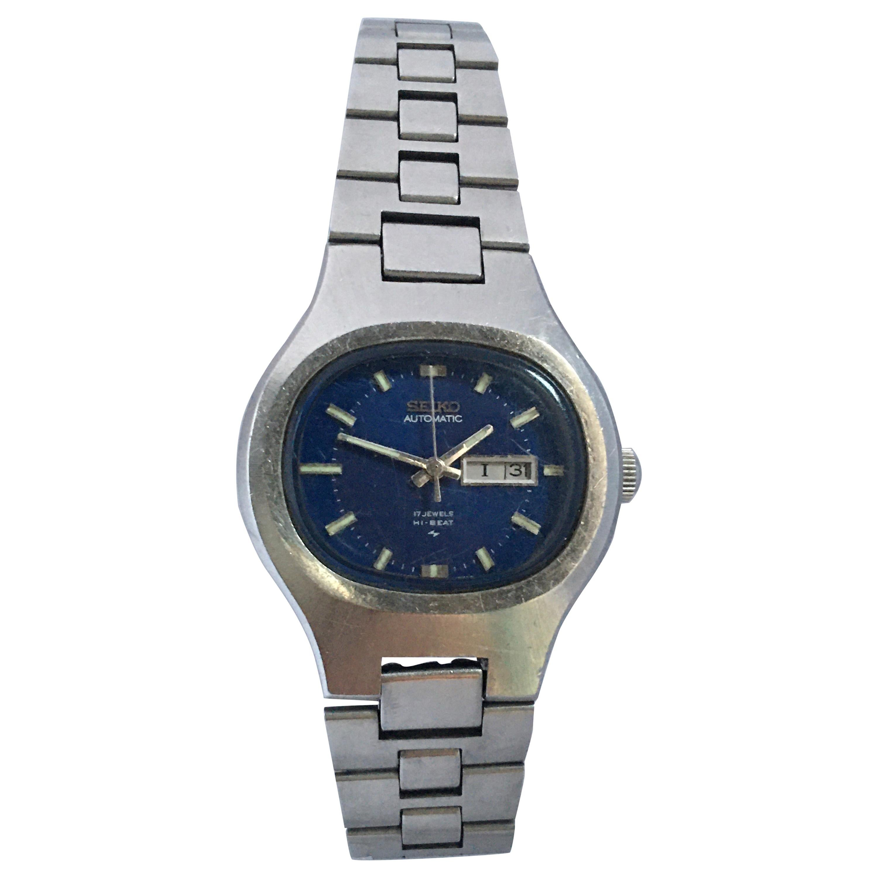 Vintage 1970s Stainless Steel Blue Dial Ladies Seiko Automatic Watch
