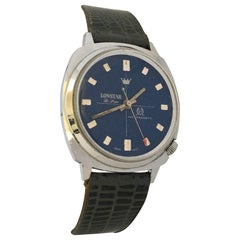 Vintage 1970s Stainless Steel Blue Dial Swiss Mechanical Gents Watch