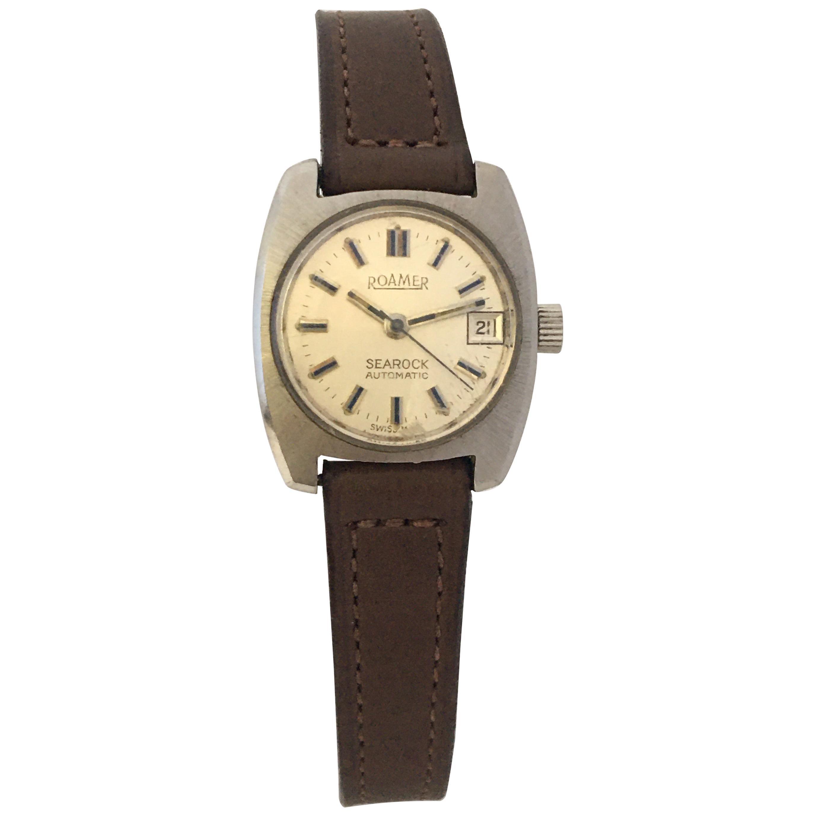 Vintage 1970s Stainless Steel Roamer Searock Automatic Ladies Watch