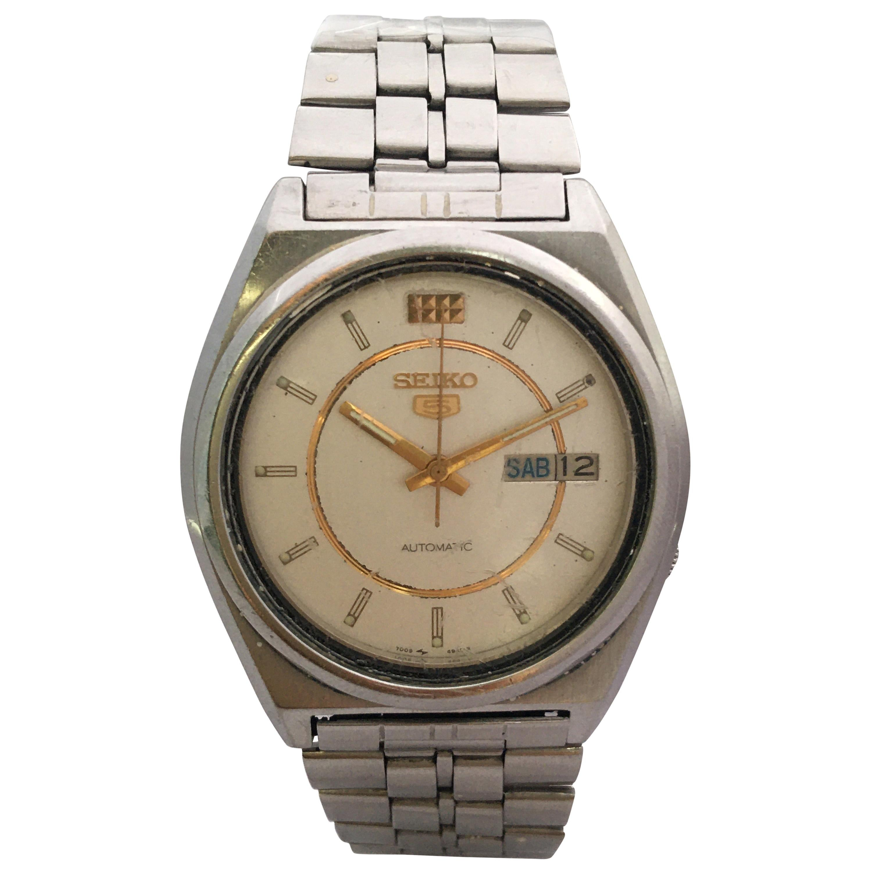 Vintage 1970s Stainless Steel Seiko 5 Automatic Gents Watch
