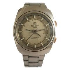 Vintage 1970s Stainless Steel Tissot Navigator Sonorous Alarm Wristwatch