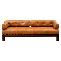 Vintage 1970s Swedish Deep Seated Leather Sofa or Daybed in the Style of De Sede