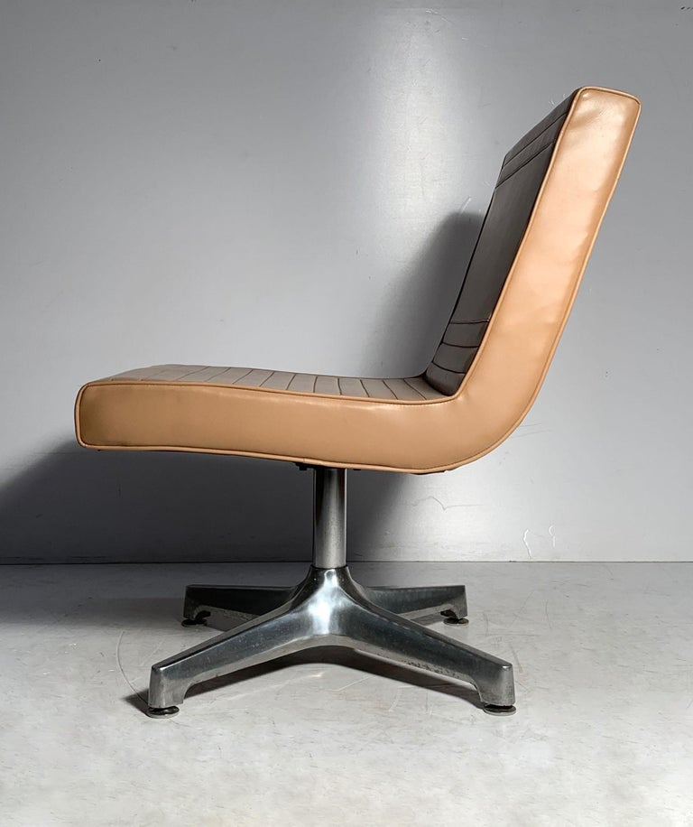 Metal Pair of Vintage 1970s Techfab Chromcraft Latte Lounge Chairs For Sale