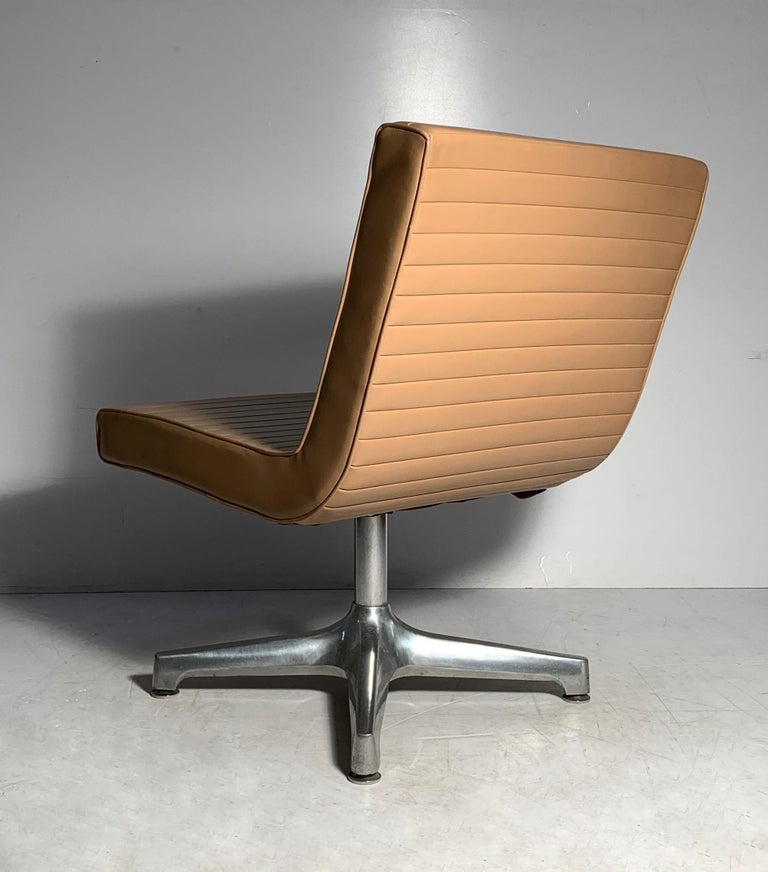 Pair of Vintage 1970s Techfab Chromcraft Latte Lounge Chairs For Sale 1
