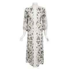 Vintage 1970's Thea Porter Couture Art Nouveau Print Silk & White Lace Dress