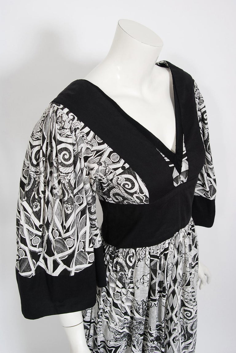 Gray Vintage 1970's Thea Porter Kaleidoscope Floral Print Cotton Bell-Sleeve Dress For Sale