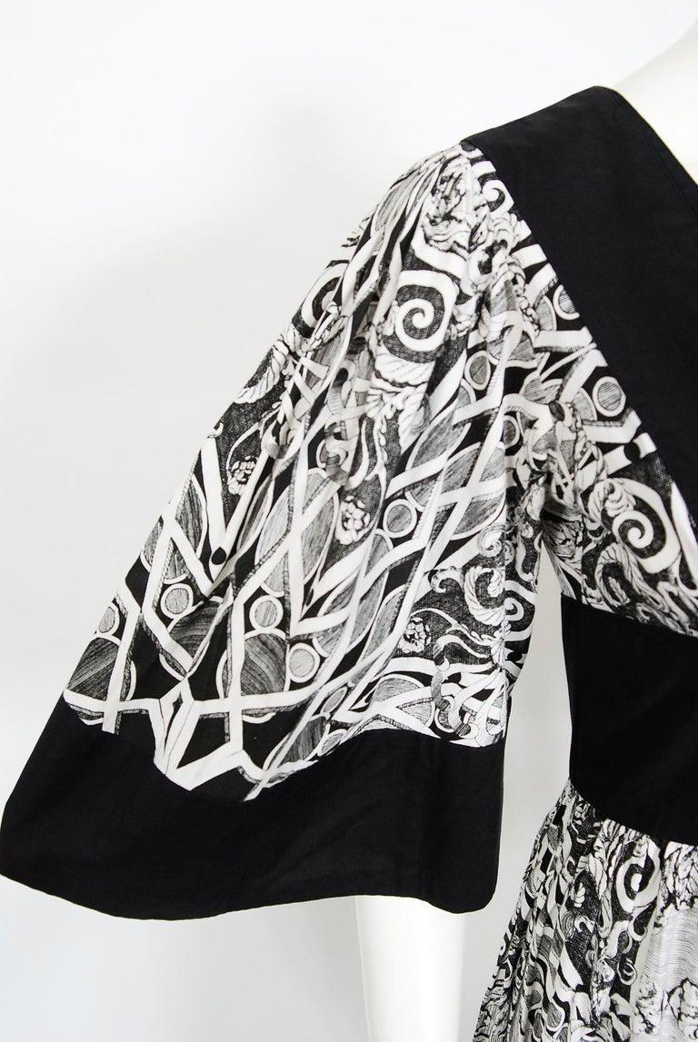 Women's Vintage 1970's Thea Porter Kaleidoscope Floral Print Cotton Bell-Sleeve Dress For Sale
