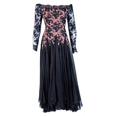 Vintage 1970's Travilla Couture Sheer Illusion Lace & Black Chiffon Gown