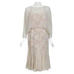 Vintage 1970's Travilla Ivory Chiffon & Lace Illusion Dolman Sleeve Bridal Dress