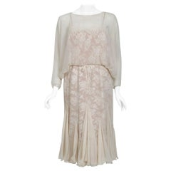 Vintage 1970's Travilla Ivory Chiffon & Lace Illusion Dolman Sleeve Bridal Dress