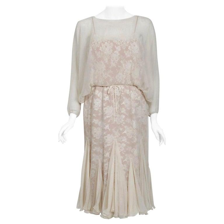 Vintage 1970's Travilla Ivory Chiffon & Lace Illusion Dolman Sleeve Bridal Dress For Sale