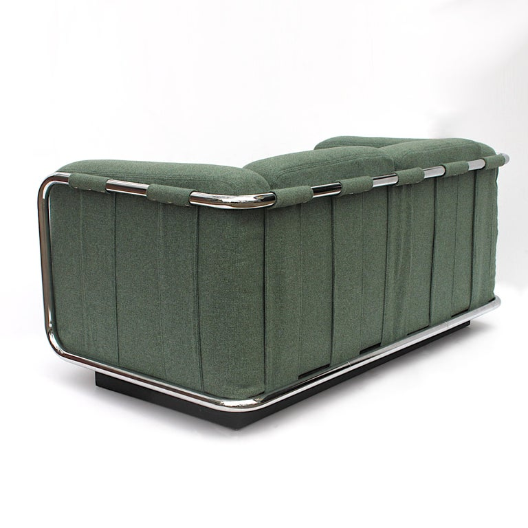 Late 20th Century Vintage 1970s Tubular Chrome Mid-Century Modern Loveseat Sofa by Thonet For Sale