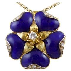 Vintage 1970s Tudor Rose, Blue Enamel and Diamonds, Gold Chain