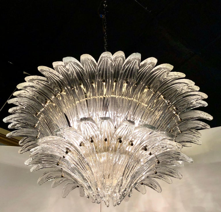 Late 20th Century Vintage 1970s Venetian Murano Clear Glass Palmette Chandelier Art Deco Style For Sale
