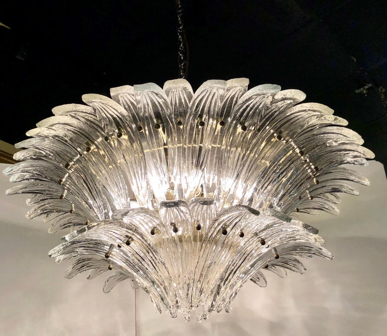 Art Glass Vintage 1970s Venetian Murano Clear Glass Palmette Chandelier Art Deco Style For Sale