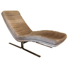 Vintage 1970s Walter Knoll for Brayton International Leather and Chrome Chaise