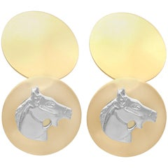 Vintage 1970s White and Yellow Gold Horse Cufflinks