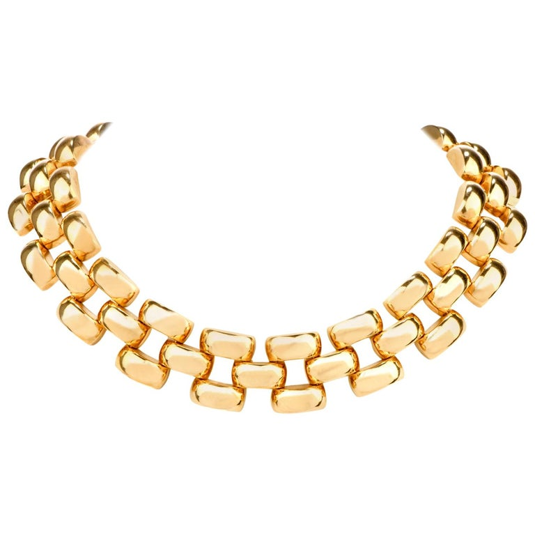 Vintage 1970s Wide Open Panther Link 18 Karat Choker Necklace 166.2 Grams For Sale